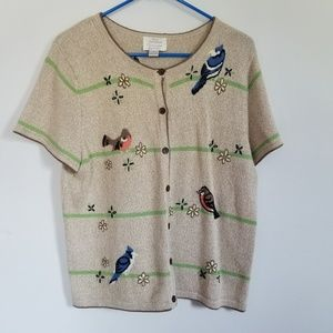 Christopher & Banks Embroidered Bird Sweater